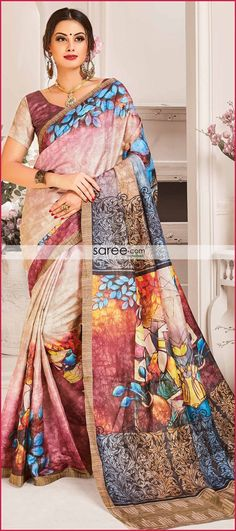 Pink and Cream Paper Silk Saree With Digital Print Latest Indian Saree, Indian Sarees, Silk Sarees, Indian Designer Sarees, Saree Collection, Wedding Wear, Party Wear, Digital Prints, Special Occasion