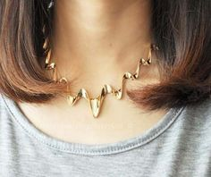 Wavy lightning personality fake collar necklace by HappyGou, $8.99