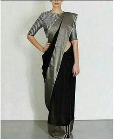 Beautiful black linen by line saree with shiny grey broad border. Blouse piece running. To own it plz leave msg in comment section or visit our page weave in fb. Saree Blouse Patterns, Sari Blouse Designs, Grey Saree, Black Saree Blouse, Blouse Neck, Formal Saree, Indian Silk Sarees, Bengali Saree, Sabyasachi