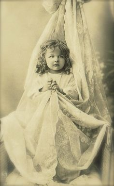 Edwardian Children, Adorable Sweet Little Baby Girl in Lace, Evocative Romantic Original 1900s Belle Epoque French Rare Photo Postcard