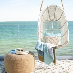 Swing into summer in a gorgeous retro hanging egg swing chair, perfect for soaking up summer's sunshine! Egg Swing Chair, Hanging Swing Chair, Swinging Chair, Swing Chairs, Hanging Chairs, Room Chairs, Desk Chairs, Ikea Chairs, Blue Chairs