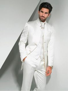 54bed9a86 2016 New Fashion Groom Tuxedos Mandarin Lapel Men s Suit White Groomsman  Best Man Wedding Prom Suits(jacket+pant+vest+tie). Trajes Elegantes HombreTrajes  De ...