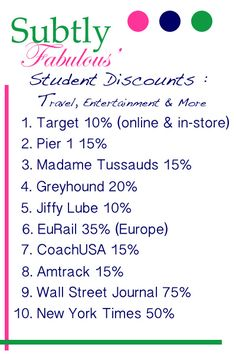 Student Discounts on Travel, Entertainment and more! More discounts at this website!