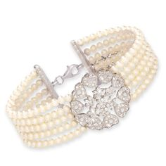 Sterling Silver, 164-Genuine Freshwater Pearl and CZ Serenity Bracelet