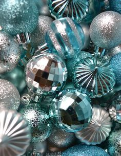 These ornaments are for my little turquoise/blue Christmas tree. Yes, I said turqoise/blue Christmas tree. Turquoise Christmas, Silver Christmas Decorations, Silver Ornaments, Christmas Colors, White Christmas, Vintage Christmas, Christmas Holidays, Christmas Ornaments, Christmas Trees