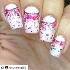 """#Repost @fun.nails.galia  Did these a while ago. The base is reckless"""" @delsolcolor and the glitter is """"cherry blossom"""" @glimmerbyerica. #glittergradient #glitters  #halfmoonnails  #showmynails #nailgasm #nailporn #nailsdid #featuremynails #notd #nails #nailart  #nailartwow #naildesign #nailpolish #nailitdaily #nailpromote #nailstagram #nails2inspire #nailsoftheday #craftyfingers #thenailartstory #ignails #instanails #tagsforlikes #nailartcult #nailartoohlala #scra2ch #manicure by…"""