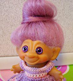 "Vintage 1964 DAM C64 2.5"" Troll Doll Purpley Pink Mohair w/ Purple Spiral Eyes"
