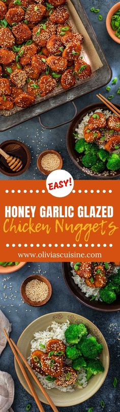 A fun twist on a classic back-to-school dinner, these Honey Garlic Glazed Chicken Nuggets will get everybody rushing to the table! Allergy Free Recipes, Meat Recipes, Cooking Recipes, Sweets Recipes, Easy Dinner Recipes, Appetizer Recipes, Dinner Ideas, Delicious Recipes, Appetizers