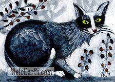 AUCTION on eBay running now #CAT Original #Painting Folk ART #Animal Meloearth #ACEO Black & White #Primitive #kitty #kitttcat