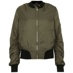 Women's Topshop 'Ultimate MA1' Bomber Jacket (€89) ❤ liked on Polyvore featuring outerwear, jackets, tops, topshop, green military jackets, topshop jackets, olive green bomber jacket, olive green jackets and olive jacket