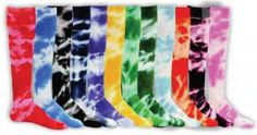 Tie-Dye Tube Socks Latest in Socks Designs Cotton Nylon Spandex Black Navy Royal Dark Green Purple Red Gold Orange Light Blue Maroon Softbal...
