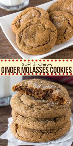 from Just So Tasty These ginger molasses cookies are thick and chewy with a delicious molasses flavor. They're made with brown sugar and the perfect amount of warm spices to create a cookie that's flavorful, extra soft, and easy to make. Holiday Baking, Christmas Baking, Christmas Cookies, Best Gingerbread Cookies, Baking Recipes, Cookie Recipes, Dessert Recipes, Cookie Flavors, Dessert Food