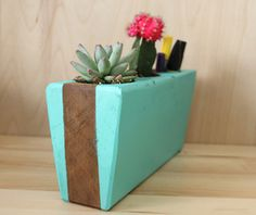 Upcycled sugar molds - love the idea of mixing succulents with your pens/pencils. I need this at my desk!