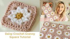 Daisy Granny Square Crochet Tutorial - YouTube Motifs Granny Square, Granny Square Crochet Pattern, Crochet Squares, Crochet Granny, Crochet Blanket Patterns, Crochet Motif, Knit Crochet, Granny Squares, Learn Crochet