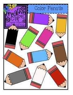 "{Free} ""Color Pencils Clipart"" from Krista Wallden of Creative Clips Scrapbooking, Scrapbook Paper, School Clipart, Classroom Clipart, Classroom Displays, Classroom Decor, Classroom Organisation, Pencil Clipart, Display Lettering"