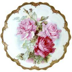 Antique porcelain plate pink roses gold Zeh Scherzer c. 1900 /150