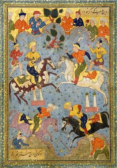 MINIATURES FROM THE KHAMSEH OF NIZAMI  SAFAVID SHIRAZ, 16TH CENTURY  Gouache on paper heightened with gold,miniature from the story of Khusraw and Shirin depicting a polo game with two double minaret-shaped goals and four players, crowds watch around, both with a line of text above and below, laid down on gold speckled pink or blue paper margins between gold and polychrome borders, the reverse mounted to the side with 10 or 11ll. of black nasta'liq arranged in two columns, mounted. (30 x…