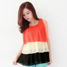 $22.50 Sleeveless Layered Chiffon Top