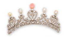 A conch pearl, natural pearl and diamond tiara set with brilliant-cut diamonds mounted in white gold. (Photo Bonhams)