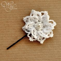 BRIDAL HAIR PIN - wedding hair accessories white color crochet flower glass pearls very oryginal. $15,00, via Etsy.