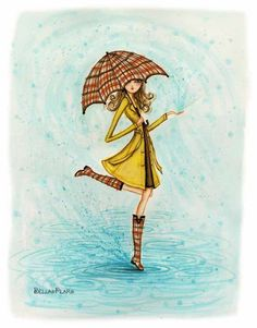 Rainy Day art by Bella Pilar Canvas Wall Art, Canvas Prints, Art Prints, Umbrella Art, Art And Illustration, Fashion Sketches, Fashion Illustrations, Just In Case, Art Drawings