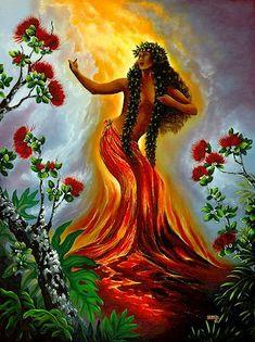Pele, the Goddess of Fire in Hawaii! Hawaiian Legends, Hawaiian Art, Hawaiian Tattoo, Hawaiian Woman, Hawaiian Dancers, Hawaiian Decor, Hawaiian Mythology, Hawaiian Goddess, Polynesian Art