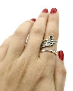 wing ring, angel ring, angel wing ring, smoky quartz ring adjustable r – Handmade with love from Greece Angel Wing Ring, Smoky Quartz Ring, Green Agate, Green Peridot, Quartz Stone, Red Garnet, Pink Tourmaline, Blue Topaz, Adjustable Ring