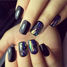 Nails gel, we adopt or not? - My Nails Gorgeous Nails, Love Nails, Pretty Nails, Fun Nails, Black Nail Designs, Fall Nail Designs, Holographic Nails, Square Nails, Nagel Gel
