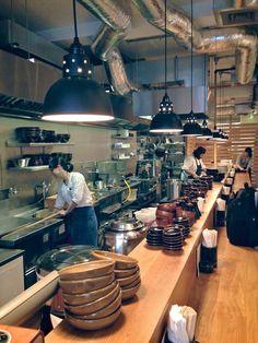 Koya's tiny offshoot Koya Bar brings a taste of Japan to Soho's early morning diners. Restaurant Kitchen Design, Restaurant Interior Design, Cafe Interior, Interior Modern, Design Café, Layout Design, Small Open Kitchens, Japanese Restaurant Design, Ramen Bar