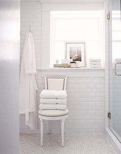 Classic bathroom - white brick tiles and white floor