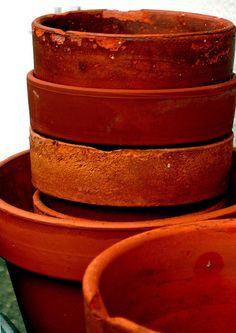 Terra cotta pots stacked