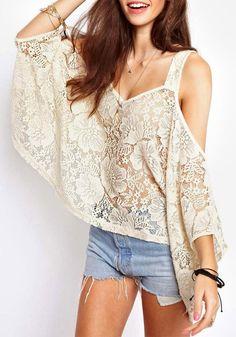 White Shoulder Cutout Lace Top. It looks strange but i love it!