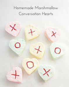 Homemade Marshmallow Conversation Hearts. Cute Valentine treat for kids.