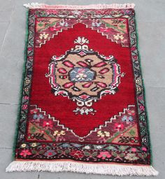 Turkish Rug 24''x40'' Hand Woven Kirsehir Mini Carpet 61x102cm ID:K0868
