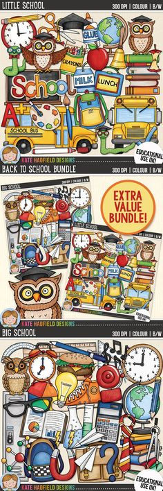 Back to school clip art for teachers! Extra value school clipart bundle! Contains both coloured clipart and black and white outlines at 300 dpi for highest quality printing for your resources and projects! | Hand-drawn clip art by Kate Hadfield Designs at Teachers Pay Teachers