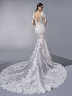 Mary is a stunning mermaid wedding dress from the Pronovias collection at Karen Forte. It has long sheer lace sleeves and a beautiful and intricate lace train. Lace Wedding Dress, Wedding Dresses 2018, Long Sleeve Wedding, Gorgeous Wedding Dress, White Wedding Dresses, Designer Wedding Dresses, Bridal Dresses, Stunning Dresses, Perfect Wedding