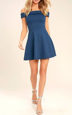 The Season of Fun Denim Blue Off-the-Shoulder Skater Dress is the perfect pick-me-up! Medium-weight stretch knit shapes an off-the-shoulder neckline and skater skirt. Banquet Dresses, Hoco Dresses, Modest Dresses, Simple Dresses, Elegant Dresses, Homecoming Dresses, Pretty Dresses, Casual Dresses, Dress Outfits