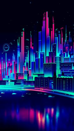 Commissioned illustration by Adobe for the cannes creative effectiveness awards Neon Wallpaper, Wallpaper Backgrounds, Iphone Wallpaper, Vaporwave Wallpaper, Cyberpunk City, Vaporwave Art, Neon Aesthetic, Retro Waves, Fantasy Landscape