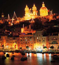 Malta - festive Island. Decorations for the local feast at Msida.