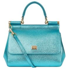 Dolce & Gabbana Mini Sicily Metallic Top Handle Bag (19.359.285 IDR) ❤ liked on Polyvore featuring bags, handbags, genuine leather handbags, mini purse, metallic handbags, blue handbags and structured handbags