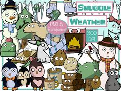 Winter Clip Art - 51 total of cute snuggle weather necessities for your classroom :)  #tpt #clipart #winter #christmas