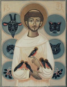 St. Francis Francis Of Assisi, St Francis, Spiritual Religion, Clare Of Assisi, Image Collage, Byzantine Art, Modern Artwork, Foto Art, Orthodox Icons