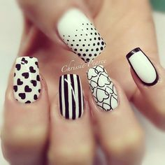 Simple, clean and quirky. Have five different styles on your nails for each finger. From dots, to hearts to stripes to a simple black border; black and white nail polish works for everyone.