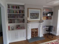 by exeter based carpenter specialising in alcove units and built in storage Alcove Ideas Living Room, Desk In Living Room, Living Room Shelves, Home And Living, Living Room Decor, Room Ideas, Dining Room Playroom Combo, Decor Ideas, Alcove Desk