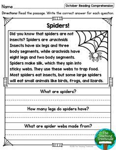 October Reading Comprehension Passages for Kindergarten and First Grade I hope that your students will enjoy these no prep October themed reading passages! Included are a mix of twenty fiction and nonfiction sigh 2nd Grade Reading Worksheets, First Grade Reading Comprehension, English Worksheets For Kids, Reading Comprehension Worksheets, Reading Fluency, Reading Passages, Kindergarten Reading, Teaching Reading, Comprehension Strategies