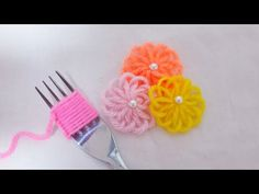 Super Easy Woolen Flower Making for Beginners - Hand Embroidery Amazing Trick - Wool Thread Design - Free Online Videos Best Movies TV shows - Faceclips Yarn Flowers, Diy Flowers, Crochet Flowers, Crochet Flower Tutorial, Hand Embroidery, Embroidery Designs, Flower Embroidery, Woolen Flower, Woolen Craft