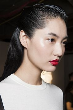 The wet look was spotted at Zac Posen SS15...