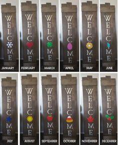 DIY Welcome Sign with interchangeable monthly pictures DIY Willkommensschild mit austauschbaren Mona Wine Bottle Crafts, Mason Jar Crafts, Mason Jar Diy, Diy Vintage, Vintage Farmhouse, Diy Home Decor Projects, Craft Projects, Craft Ideas, Diy Ideas