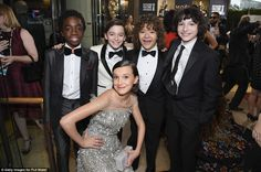 Hollywood's next generation: Stranger Things stars Caleb McLaughlin, Noah Schnapp, Gaten Matarazzo, Finn Wolfhard, and (bottom) Millie Bobby Brown enjoy their big night out