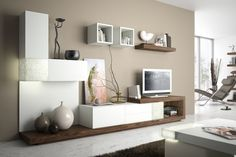 The wall unit of today: modern, variable, expandable - beige wall color and modular wall unit in white and wood - Living Room Cabinets, Living Room Tv, Home And Living, Beige Wall Paints, Beige Walls, Beige Paint, Elegant Home Decor, Elegant Homes, Beige Wall Colors